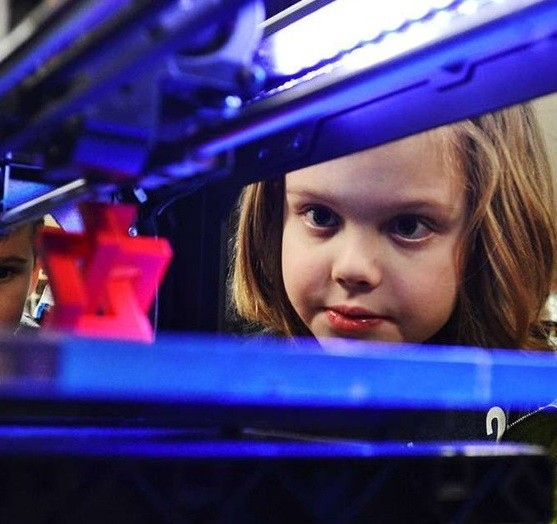 Girl with 3D Printer